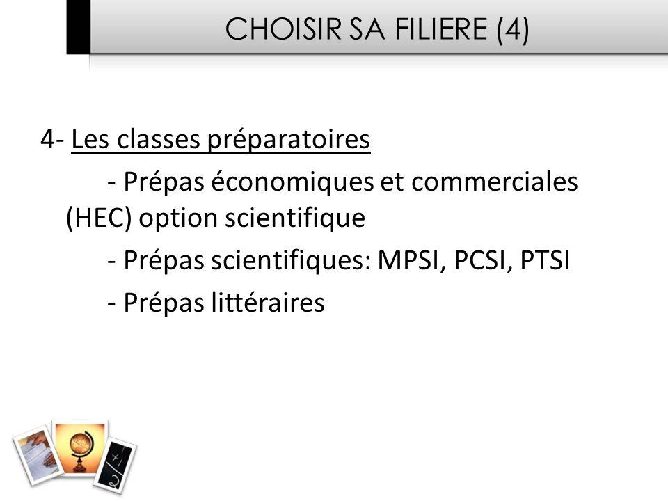 CHOISIR SA FILIERE (4) 4- Les classes préparatoires - Prépas économiques et commerciales (HEC) option scientifique - Prépas scientifiques: MPSI, PCSI, PTSI - Prépas littéraires