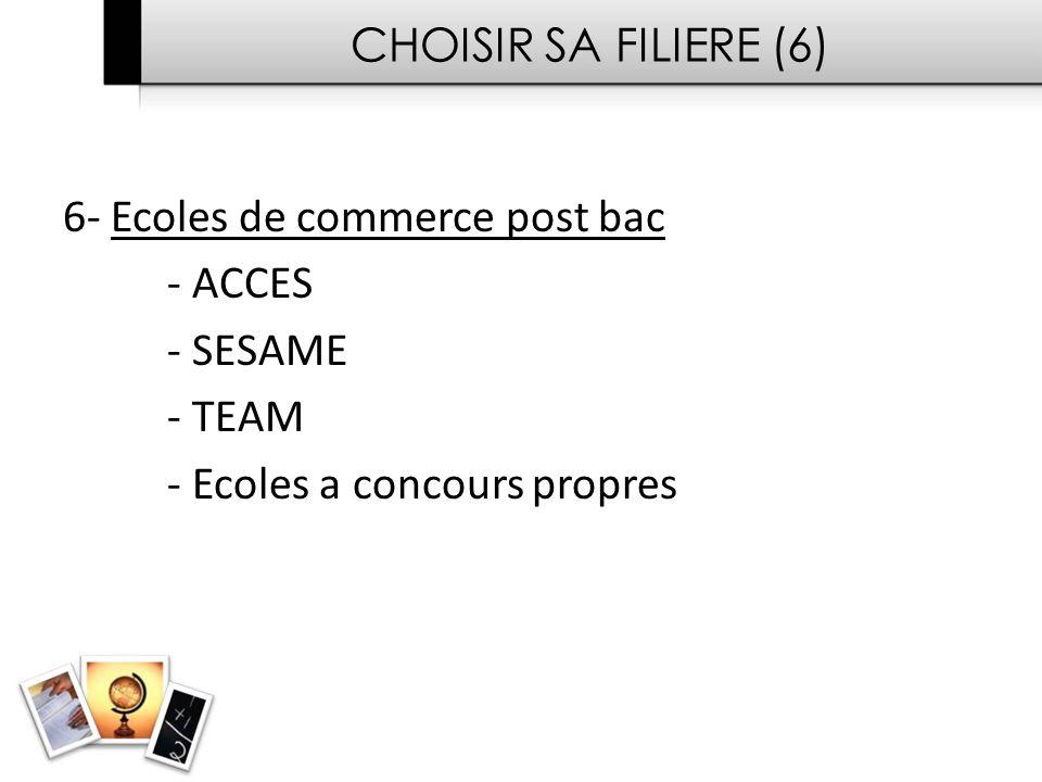 CHOISIR SA FILIERE (6) 6- Ecoles de commerce post bac - ACCES - SESAME - TEAM - Ecoles a concours propres