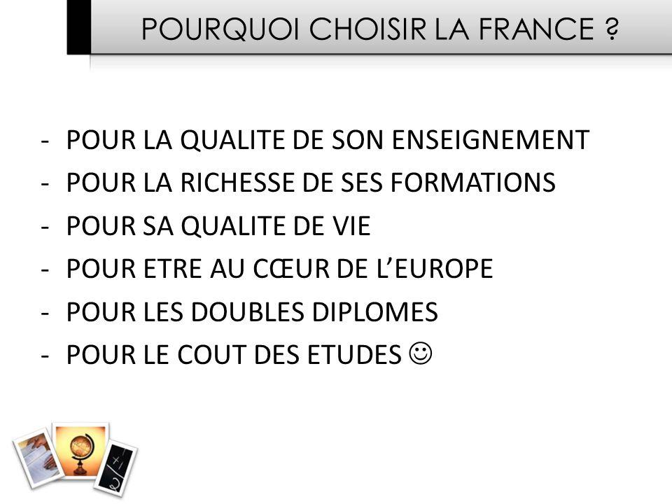 POURQUOI CHOISIR LA FRANCE .