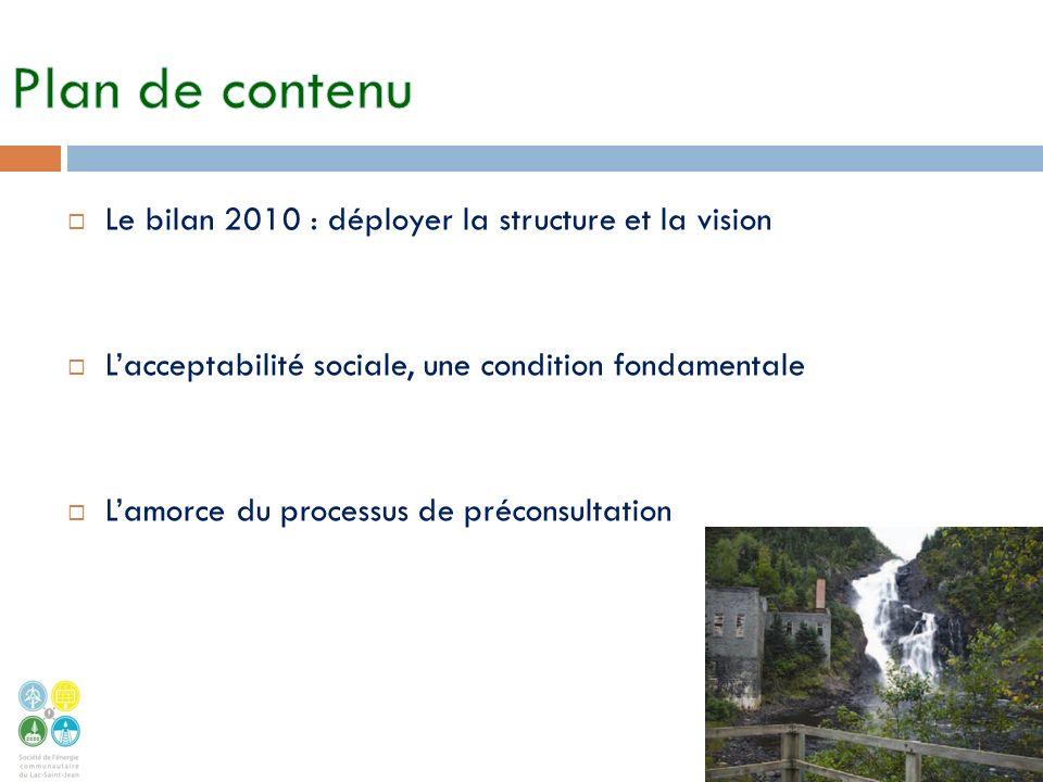 Le bilan 2010 : déployer la structure et la vision Lacceptabilité sociale, une condition fondamentale Lamorce du processus de préconsultation 2