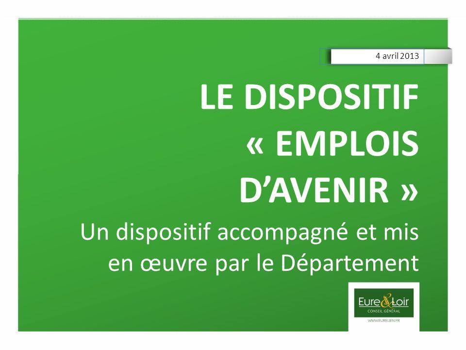 LE DISPOSITIF « EMPLOIS DAVENIR » Un dispositif accompagné et mis en œuvre par le Département 4 avril 2013