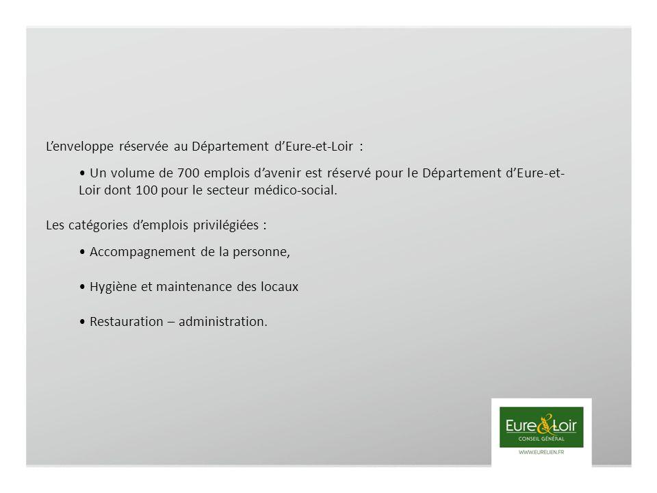 Lenveloppe réservée au Département dEure-et-Loir : Un volume de 700 emplois davenir est réservé pour le Département dEure-et- Loir dont 100 pour le secteur médico-social.