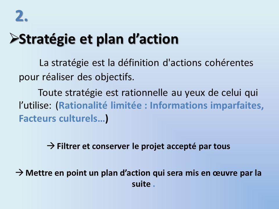 2. Stratégie et plan daction Stratégie et plan daction La stratégie est la définition d'actions cohérentes pour réaliser des objectifs. Toute stratégi