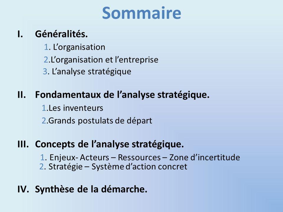 Sommaire I.Généralités. 1. Lorganisation 2.Lorganisation et lentreprise 3. Lanalyse stratégique II.Fondamentaux de lanalyse stratégique. 1.Les invente