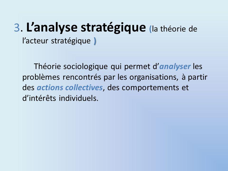 ) 3. Lanalyse stratégique (la théorie de lacteur stratégique ) Théorie sociologique qui permet danalyser les problèmes rencontrés par les organisation
