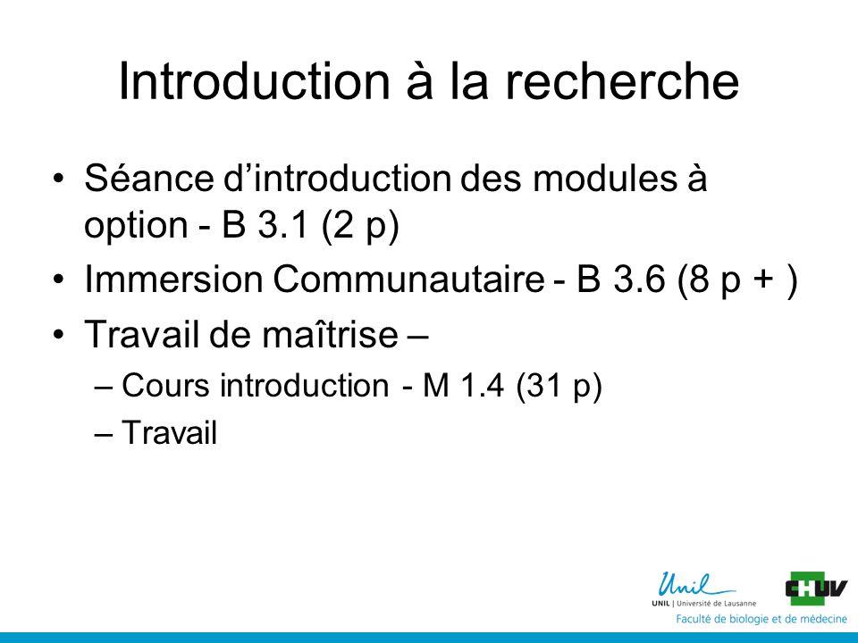 Introduction à la recherche Séance dintroduction des modules à option - B 3.1 (2 p) Immersion Communautaire - B 3.6 (8 p + ) Travail de maîtrise – –Cours introduction - M 1.4 (31 p) –Travail