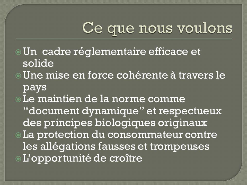 Rassemble des organisations membres provinciales fortes telle que la Filière biologique du Québec Tient des rencontres mensuelles pour évaluer les enjeux réglementaires courants