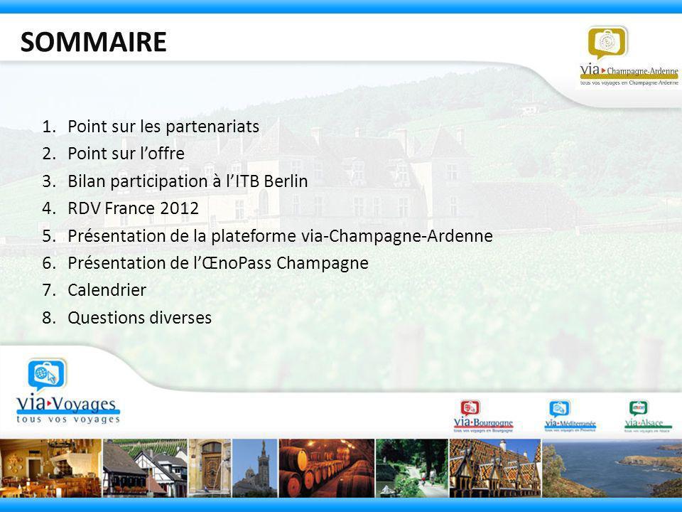 SOMMAIRE 1.Point sur les partenariats 2.Point sur loffre 3.Bilan participation à lITB Berlin 4.RDV France 2012 5.Présentation de la plateforme via-Cha