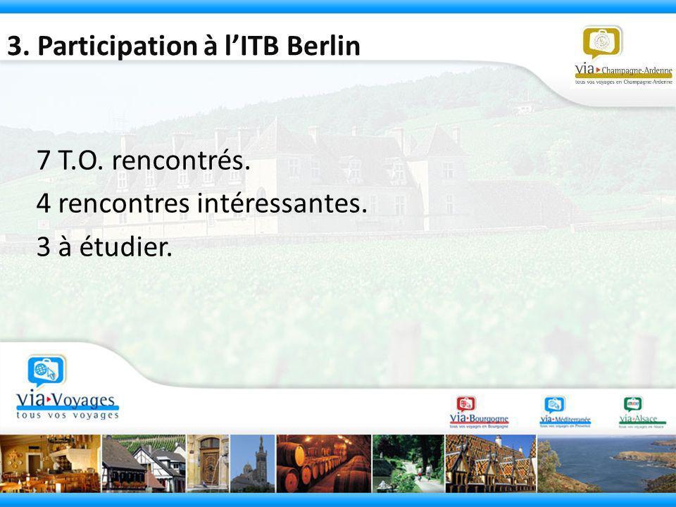 3. Participation à lITB Berlin 7 T.O. rencontrés. 4 rencontres intéressantes. 3 à étudier.