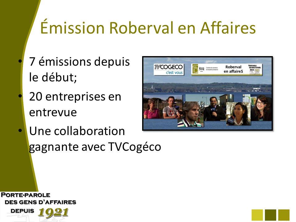 Émission Roberval en Affaires 7 émissions depuis le début; 20 entreprises en entrevue Une collaboration gagnante avec TVCogéco