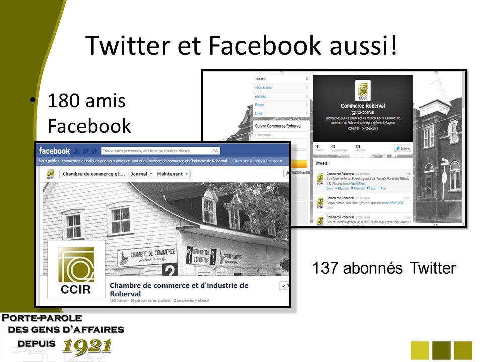 Twitter et Facebook aussi! 180 amis Facebook 137 abonnés Twitter