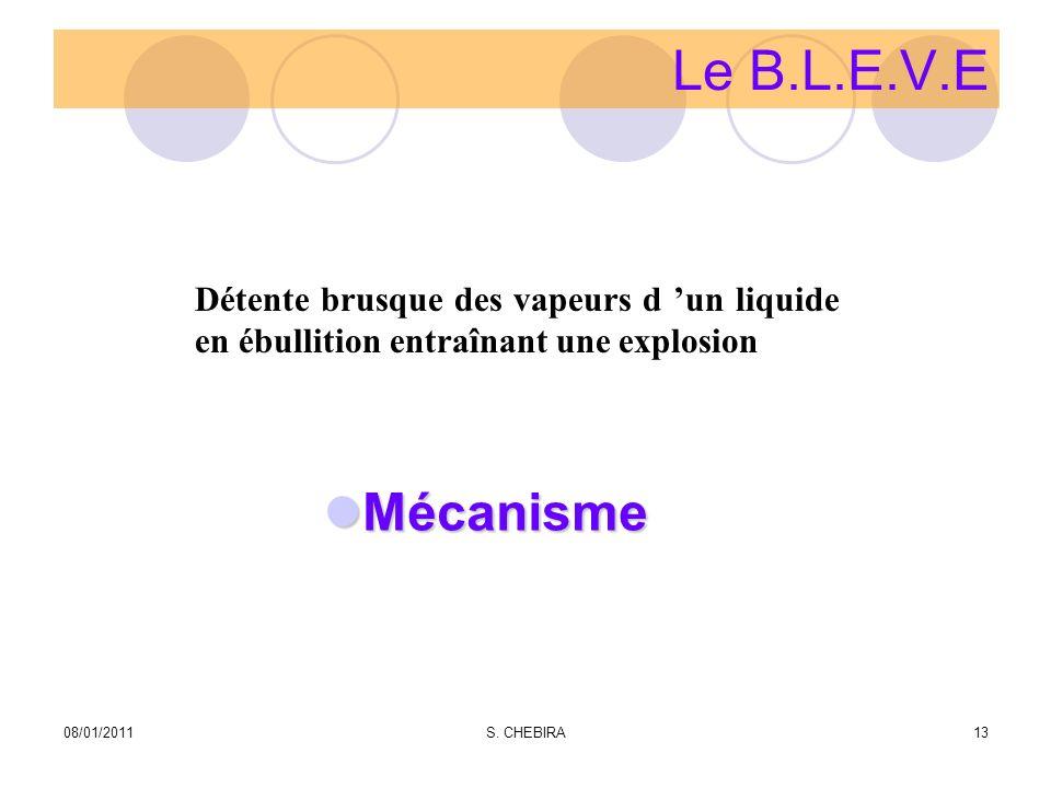 Le B.L.E.V.E Mécanisme Mécanisme Détente brusque des vapeurs d un liquide en ébullition entraînant une explosion 08/01/201113S.