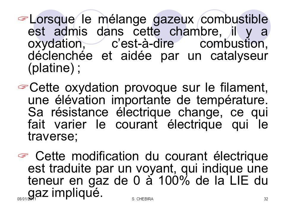Lorsque le mélange gazeux combustible est admis dans cette chambre, il y a oxydation, cest-à-dire combustion, déclenchée et aidée par un catalyseur (platine) ; Cette oxydation provoque sur le filament, une élévation importante de température.