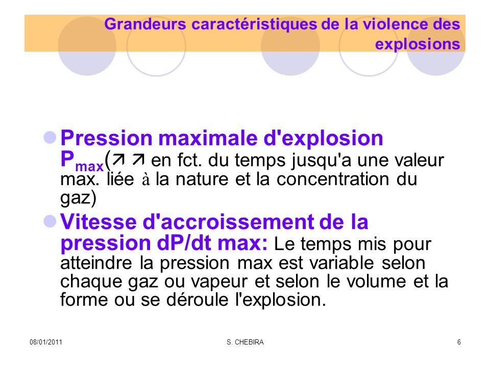 Causes d Explosion Accumulation de poussières combustibles (dépoussiérage de filtres, nettoyage de silo…) Réactions chimiques (le volume occupé par les gaz produits par la réaction est supérieur au volume des réactifs) Explosifs (gaz combustibles, vapeurs de solvants stockes ou manipules,..) 08/01/20117S.