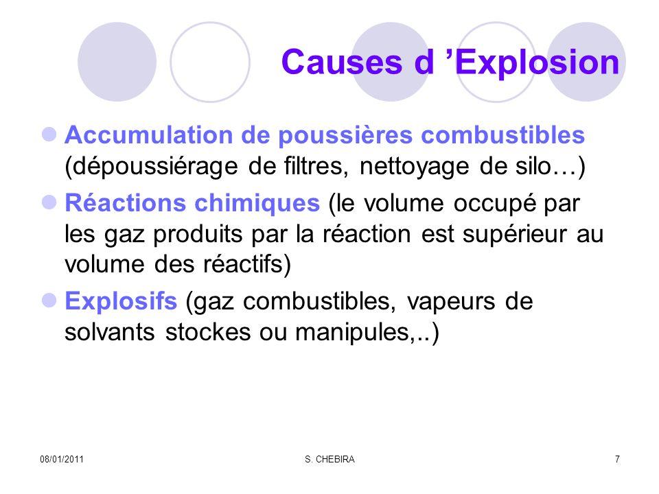causes d Explosion B.L.E.V.E Rupture de l enveloppe des réservoirsB.L.E.V.E Concentrations de gaz et vapeurs combustibles entre La LIE et la LSE 08/01/20118S.
