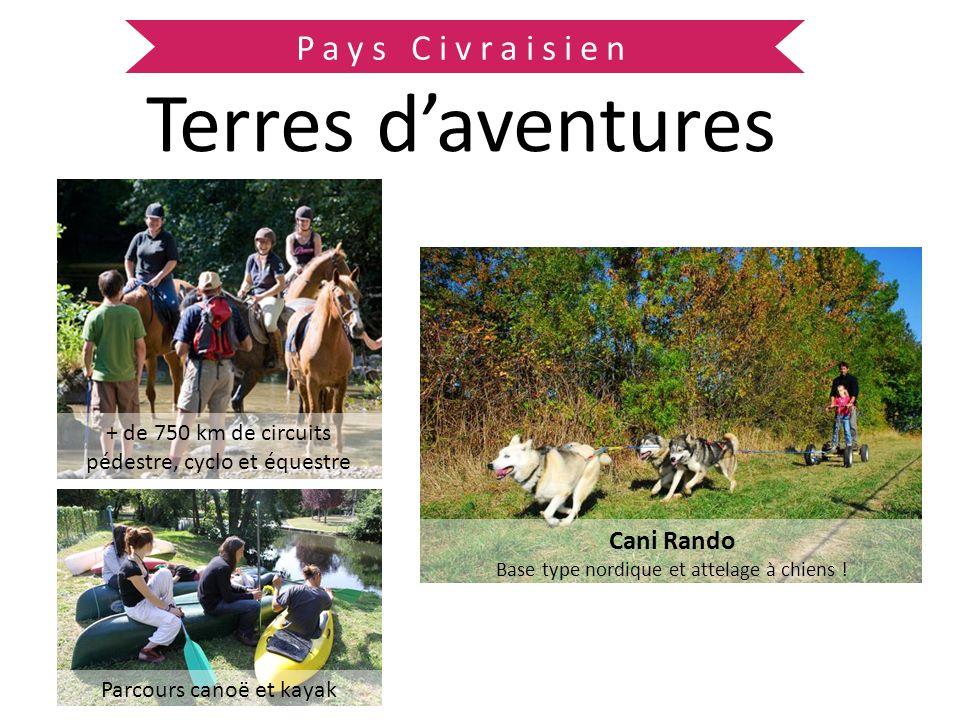 Pays Civraisien Terres daventures Cani Rando Base type nordique et attelage à chiens ! + de 750 km de circuits pédestre, cyclo et équestre Parcours ca