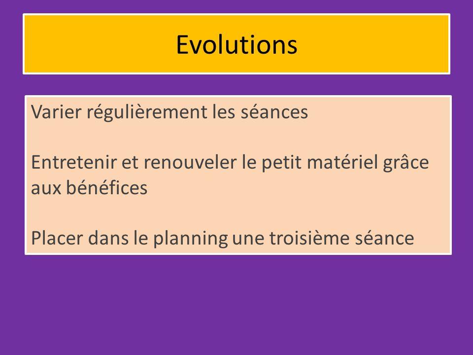 Evolutions Varier régulièrement les séances Entretenir et renouveler le petit matériel grâce aux bénéfices Placer dans le planning une troisième séance
