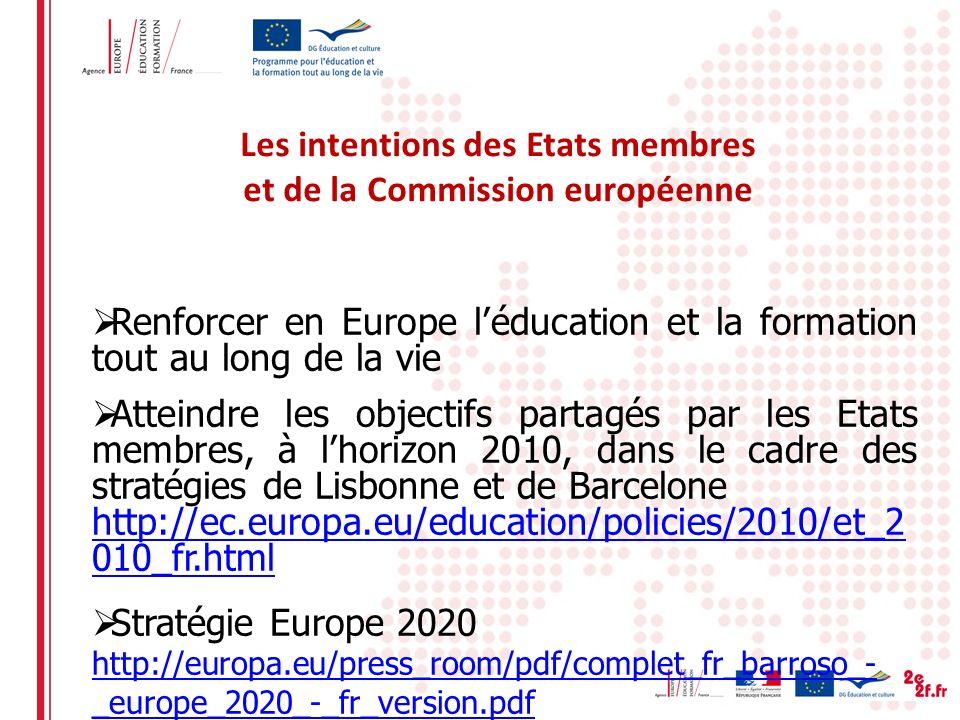Les intentions des Etats membres et de la Commission européenne Renforcer en Europe léducation et la formation tout au long de la vie Atteindre les objectifs partagés par les Etats membres, à lhorizon 2010, dans le cadre des stratégies de Lisbonne et de Barcelone http://ec.europa.eu/education/policies/2010/et_2 010_fr.html Stratégie Europe 2020 http://europa.eu/press_room/pdf/complet_fr_barroso_- _europe_2020_-_fr_version.pdf