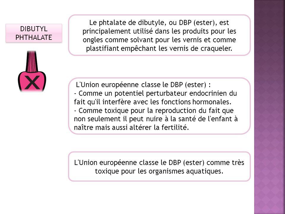 DIBUTYL PHTHALATE Le phtalate de dibutyle, ou DBP (ester), est principalement utilisé dans les produits pour les ongles comme solvant pour les vernis