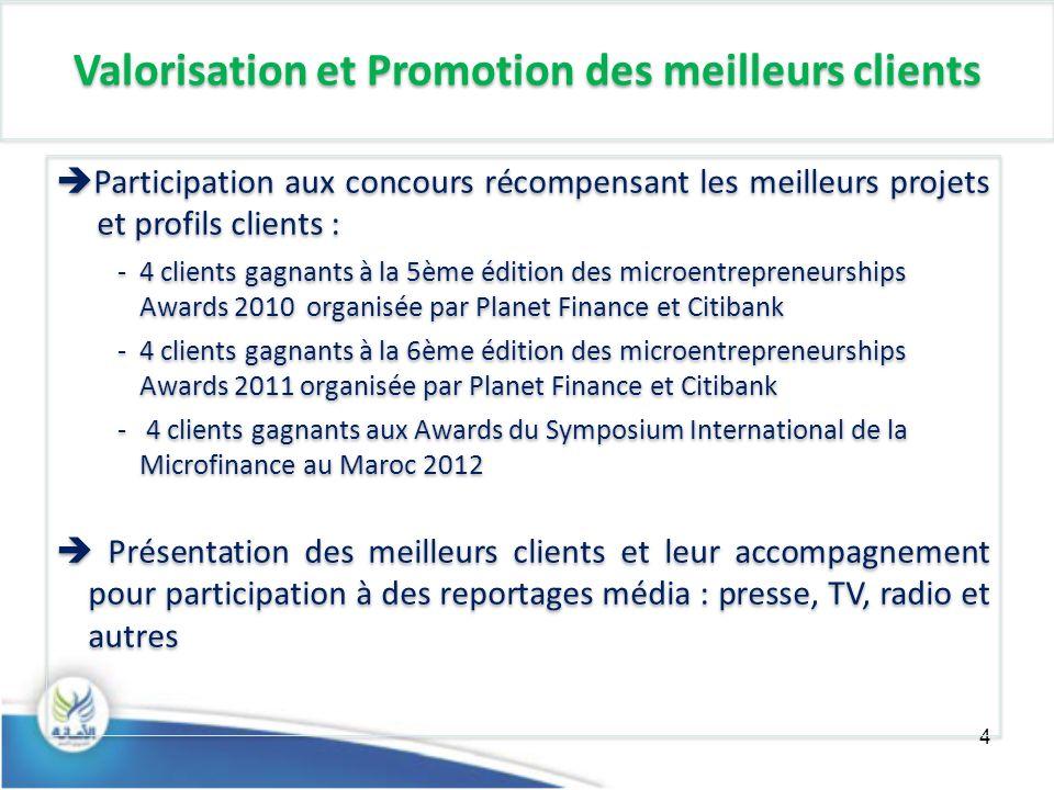 4 Valorisation et Promotion des meilleurs clients Participation aux concours récompensant les meilleurs projets et profils clients : -4 clients gagnan
