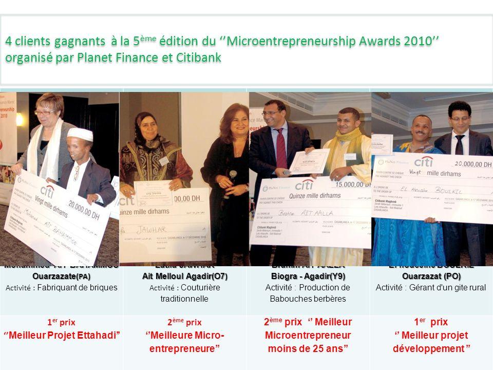 5 4 clients gagnants à la 5 ème édition du Microentrepreneurship Awards 2010 organisé par Planet Finance et Citibank Mohammed AIT BAHAMMOU Ouarzazate