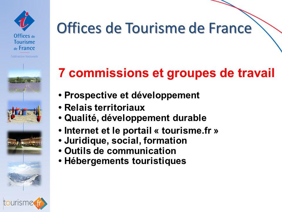 Offices de Tourisme de France Offices de Tourisme de France 7 commissions et groupes de travail Prospective et développement Relais territoriaux Quali