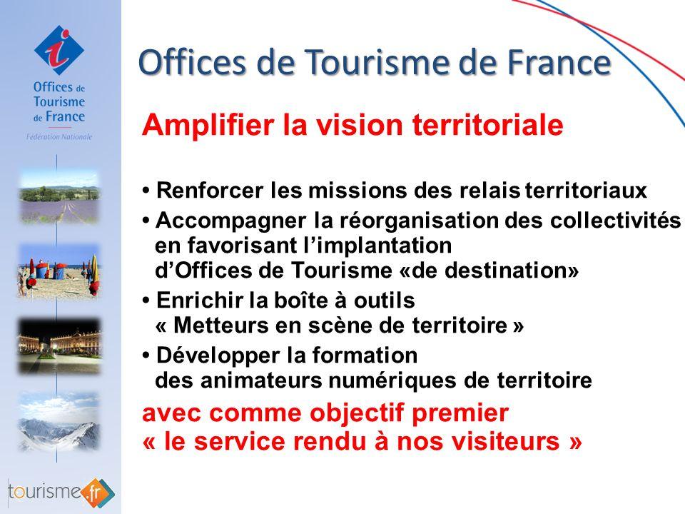 Offices de Tourisme de France Offices de Tourisme de France Stimuler et informer les adhérents Les Flash Info Tourisme Le nouvel extranet http://www.offices-de-tourisme-de-france.org/ La nouvelle boîte à outils metteurs en scène de territoire http://www.metteurenscenedeterritoire.com/ et bientôt pour les UD/FD et FR Les Flash Info Relais Tourisme