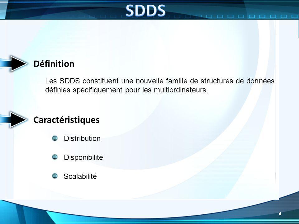 Définition Les SDDS constituent une nouvelle famille de structures de données définies spécifiquement pour les multiordinateurs. Caractéristiques Scal