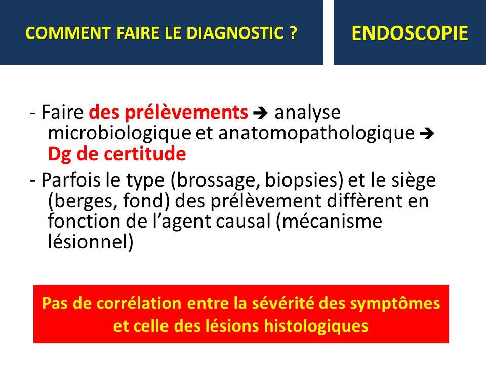 - Faire des prélèvements analyse microbiologique et anatomopathologique Dg de certitude - Parfois le type (brossage, biopsies) et le siège (berges, fo