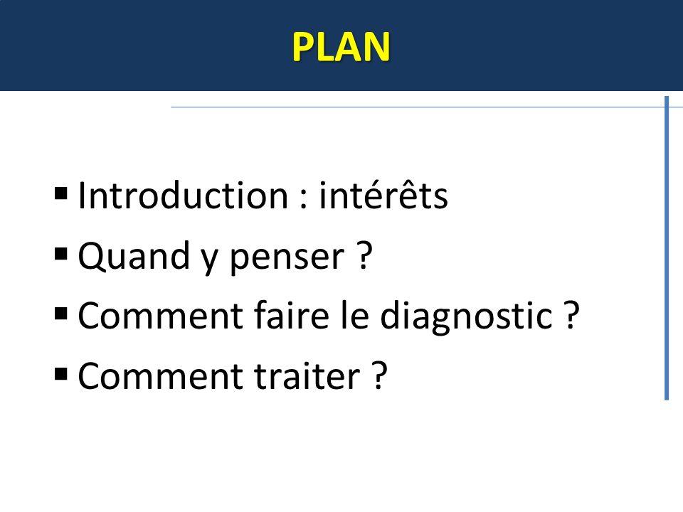 PLAN Introduction : intérêts Quand y penser ? Comment faire le diagnostic ? Comment traiter ?