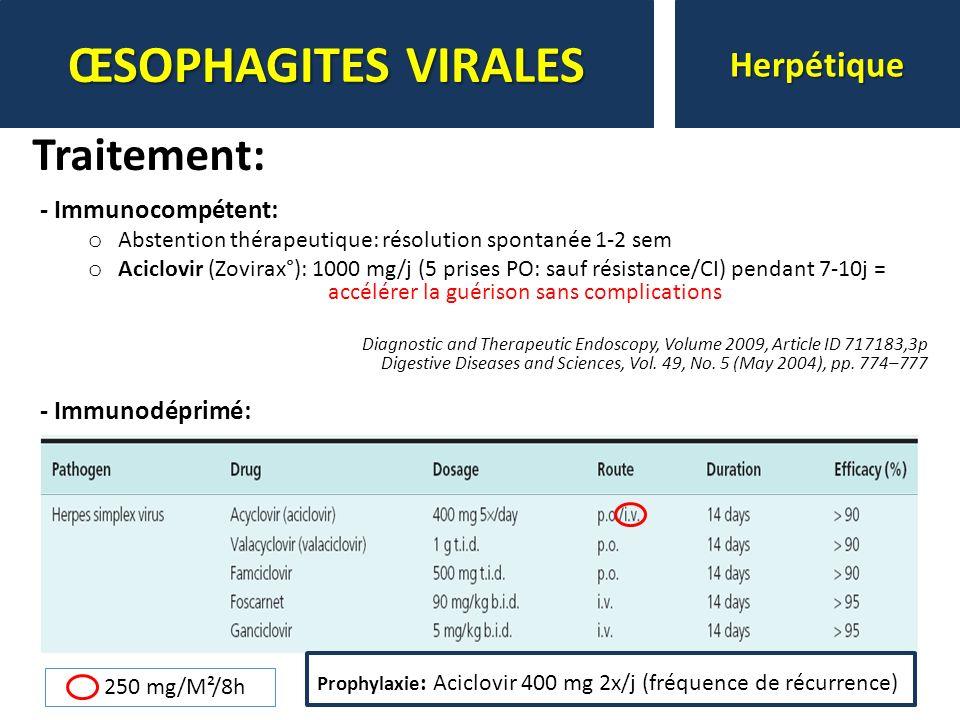 - Immunocompétent: o Abstention thérapeutique: résolution spontanée 1-2 sem o Aciclovir (Zovirax°): 1000 mg/j (5 prises PO: sauf résistance/CI) pendan