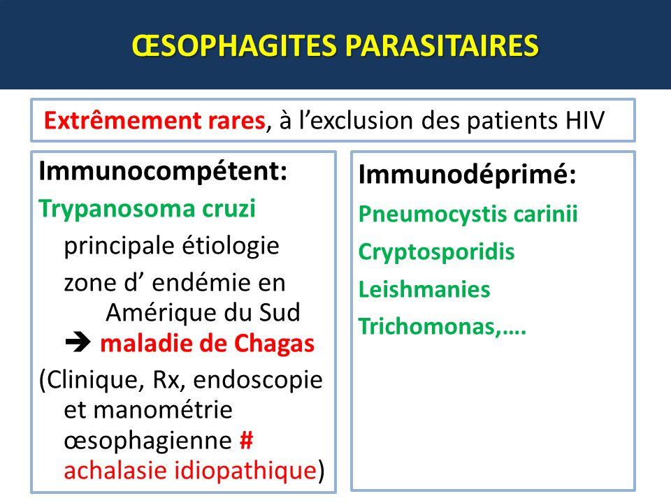 Immunocompétent: Trypanosoma cruzi principale étiologie zone d endémie en Amérique du Sud maladie de Chagas (Clinique, Rx, endoscopie et manométrie œs