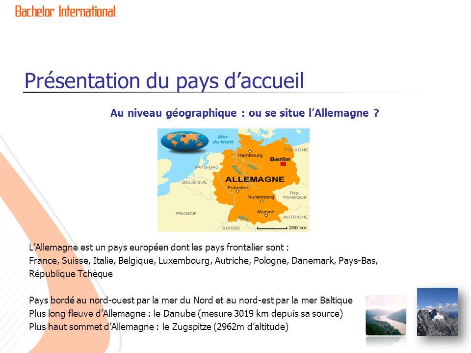 Présentation du pays daccueil LAllemagne en bref Capitale : Berlin Population : 81 Millions hab.