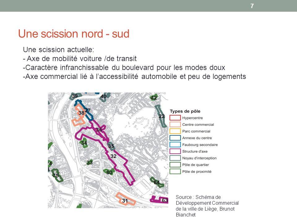 Une scission nord - sud Une scission actuelle: - Axe de mobilité voiture /de transit -Caractère infranchissable du boulevard pour les modes doux -Axe