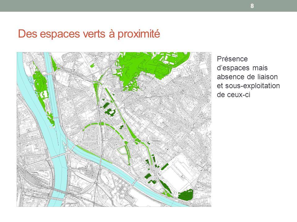 Des espaces verts à proximité Présence despaces mais absence de liaison et sous-exploitation de ceux-ci 8