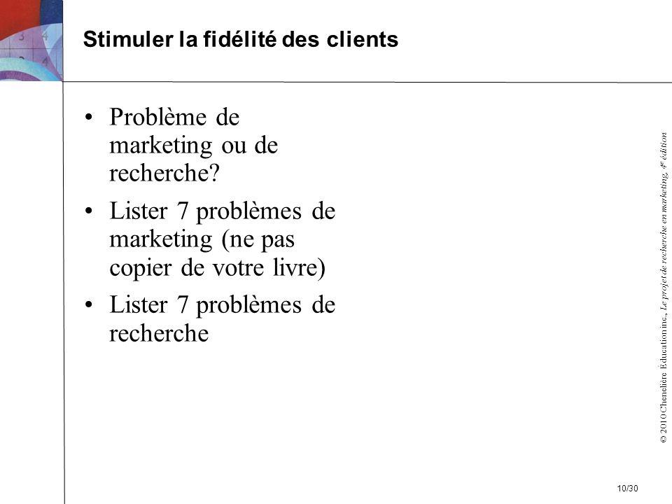 © 2010 Chenelière Éducation inc., Le projet de recherche en marketing, 4 e édition Problème de marketing ou de recherche.