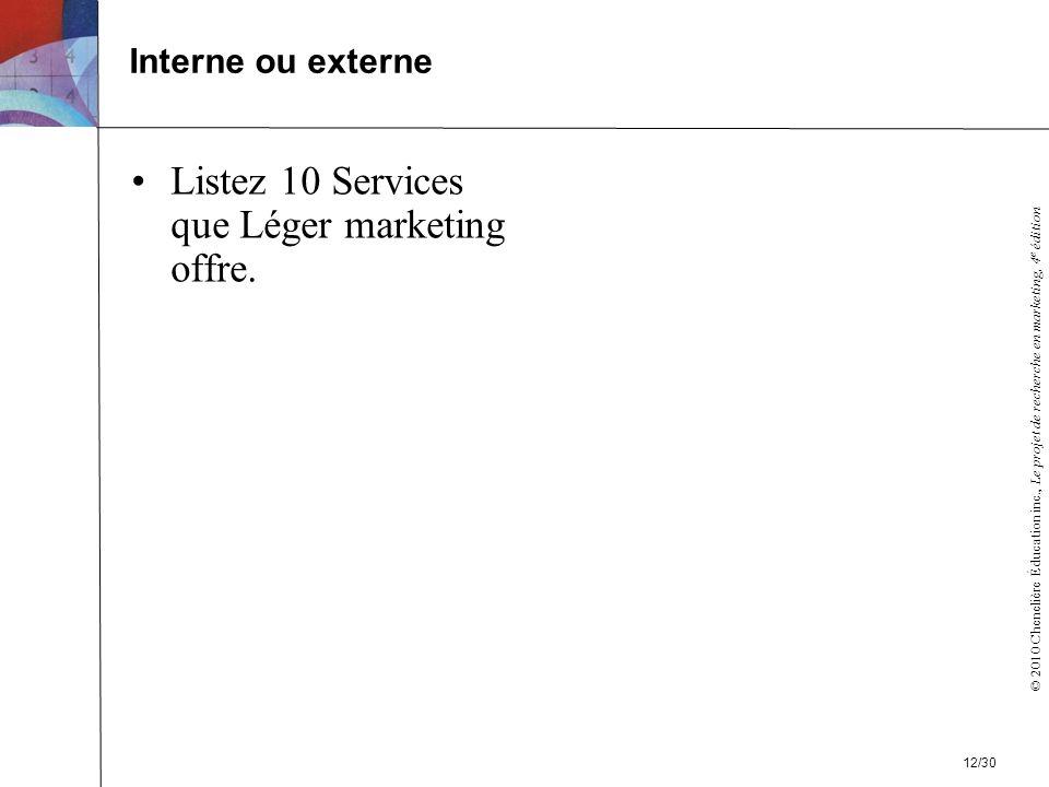 © 2010 Chenelière Éducation inc., Le projet de recherche en marketing, 4 e édition Listez 10 Services que Léger marketing offre.