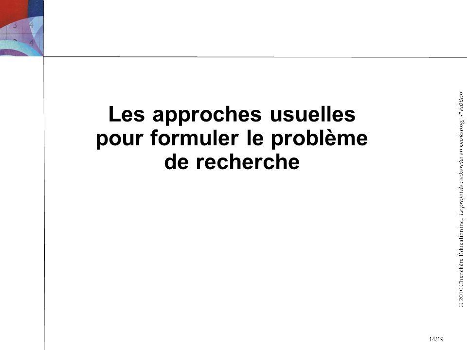 © 2010 Chenelière Éducation inc., Le projet de recherche en marketing, 4 e édition Les approches usuelles pour formuler le problème de recherche 14/19