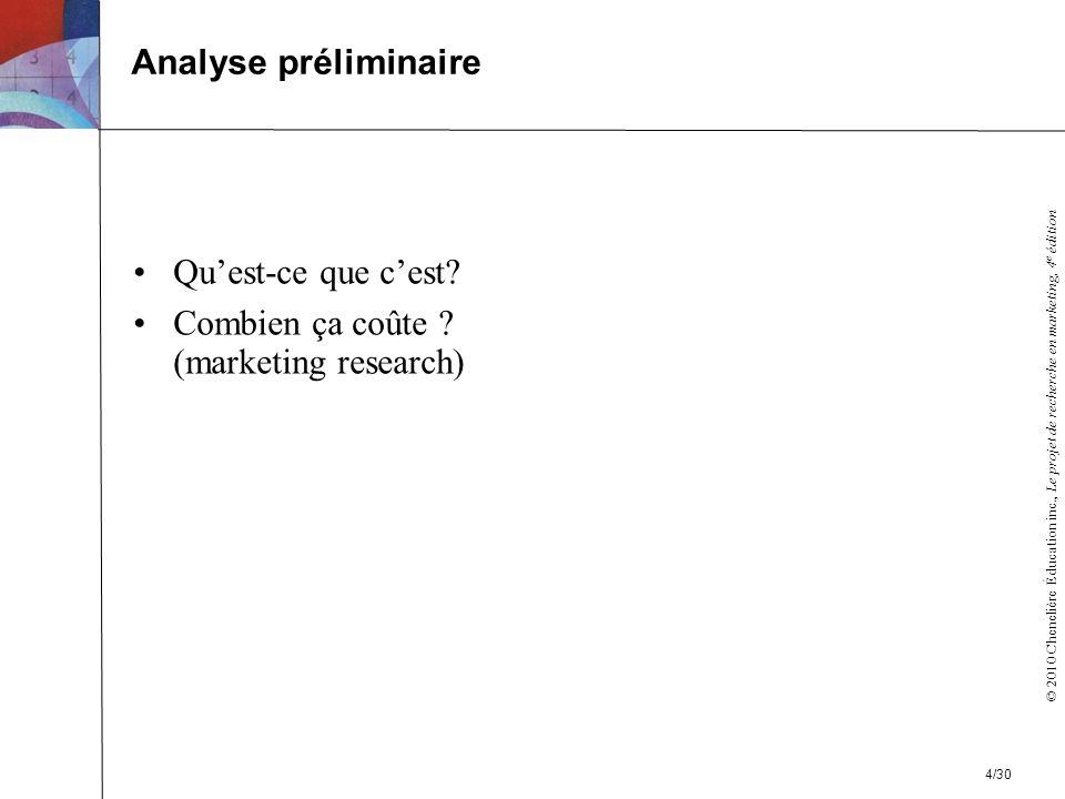 © 2010 Chenelière Éducation inc., Le projet de recherche en marketing, 4 e édition Quest-ce que cest.