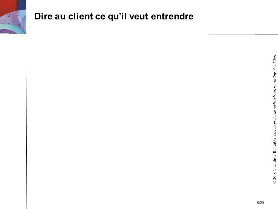© 2010 Chenelière Éducation inc., Le projet de recherche en marketing, 4 e édition Dire au client ce quil veut entrendre 6/30