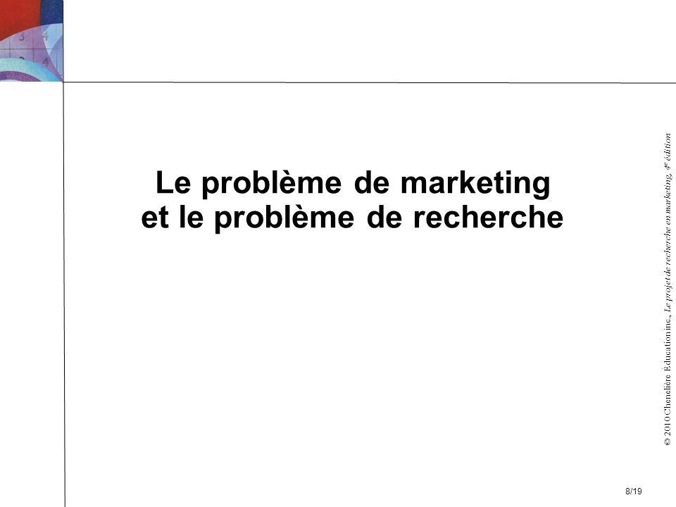 © 2010 Chenelière Éducation inc., Le projet de recherche en marketing, 4 e édition Le problème de marketing et le problème de recherche 8/19