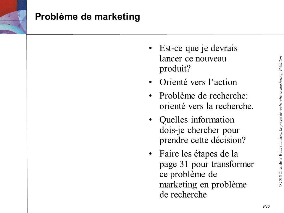 © 2010 Chenelière Éducation inc., Le projet de recherche en marketing, 4 e édition Est-ce que je devrais lancer ce nouveau produit.