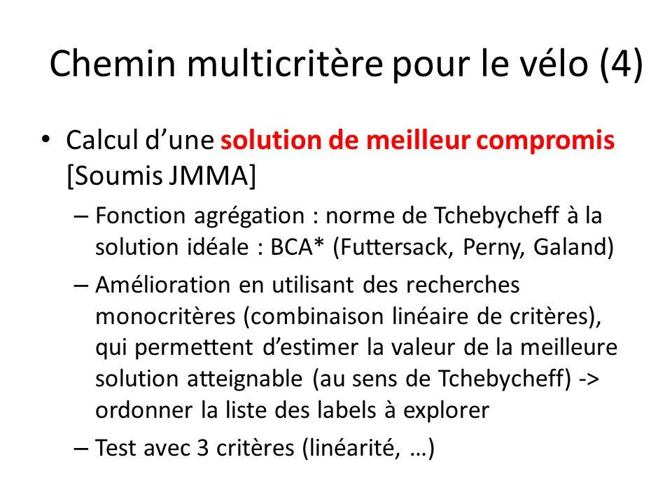 Chemin multicritère pour le vélo (4) Calcul dune solution de meilleur compromis [Soumis JMMA] – Fonction agrégation : norme de Tchebycheff à la soluti