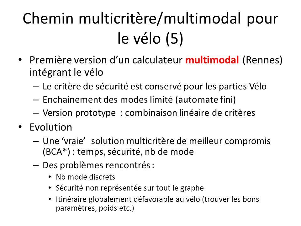 Chemin multicritère/multimodal pour le vélo (5) Première version dun calculateur multimodal (Rennes) intégrant le vélo – Le critère de sécurité est co