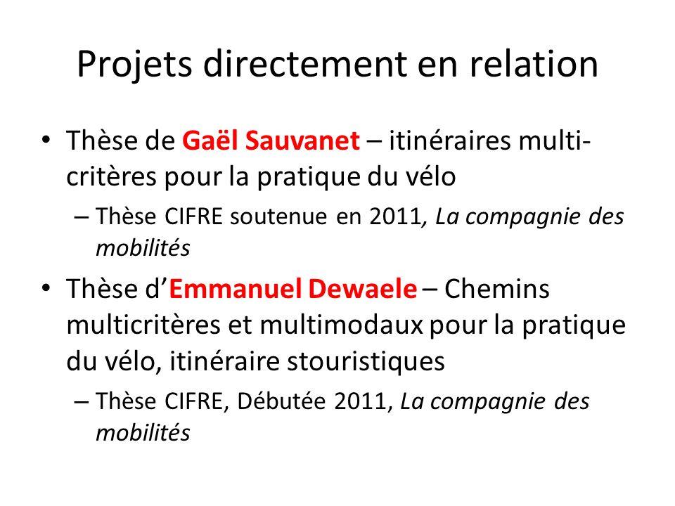 Projets directement en relation Thèse de Gaël Sauvanet – itinéraires multi- critères pour la pratique du vélo – Thèse CIFRE soutenue en 2011, La compa