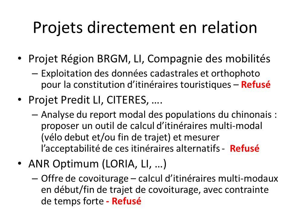 Projets directement en relation Projet Région BRGM, LI, Compagnie des mobilités – Exploitation des données cadastrales et orthophoto pour la constitut