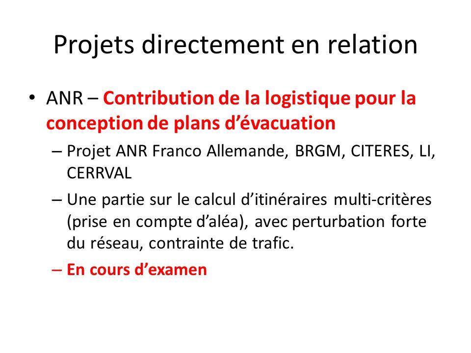 Projets directement en relation ANR – Contribution de la logistique pour la conception de plans dévacuation – Projet ANR Franco Allemande, BRGM, CITER