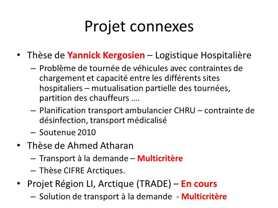 Projet connexes Thèse de Yannick Kergosien – Logistique Hospitalière – Problème de tournée de véhicules avec contraintes de chargement et capacité ent