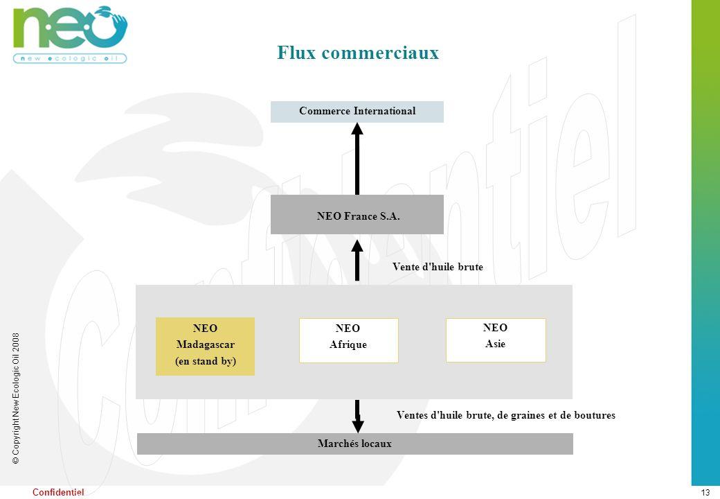 13 © Copyright New Ecologic Oil 2008 Confidentiel NEO France S.A. NEO Madagascar (en stand by) Commerce International Marchés locaux Ventes d'huile br