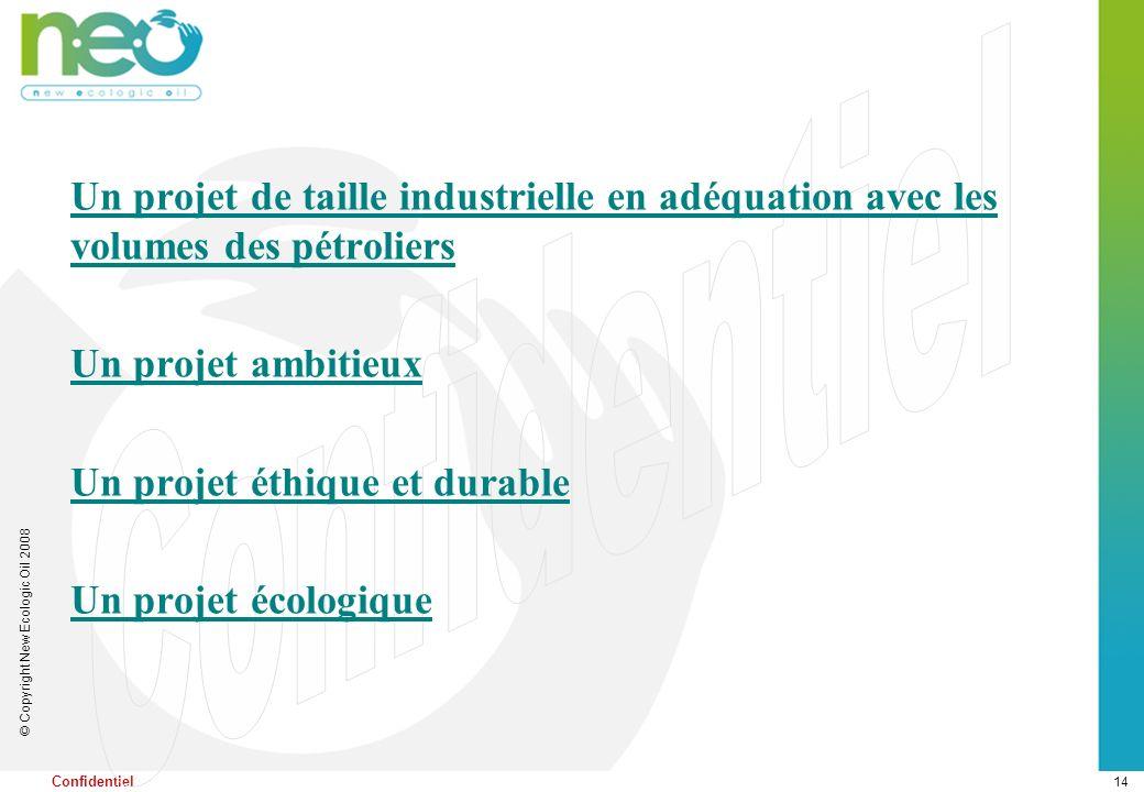 14 © Copyright New Ecologic Oil 2008 Confidentiel Un projet de taille industrielle en adéquation avec les volumes des pétroliers Un projet ambitieux U